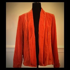 NWT- Stylish Orange Velvet Buttonless Jacket